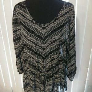 Maurices Black and White Blouse XL